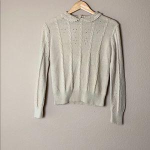 Women's vintage tan long sleeve collared sweater